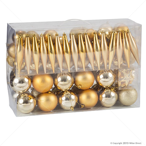 Jolly Christmas 100 Piece Assorted Tree Decoration Kit - Gold