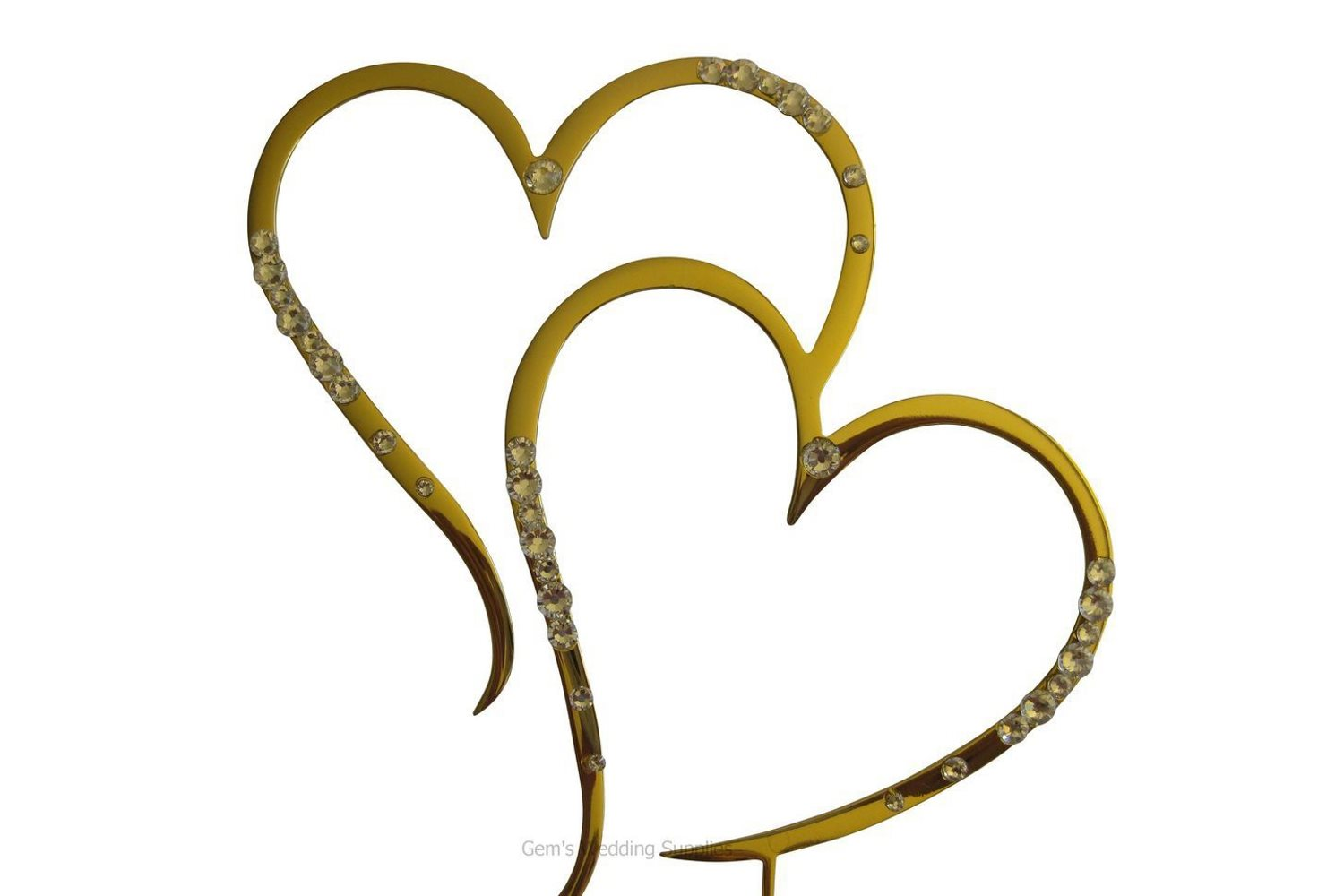 Silver Or Gold Heart Wedding Cake Topper